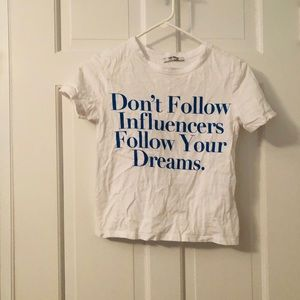 Zara inspirational Tee white Small Crop